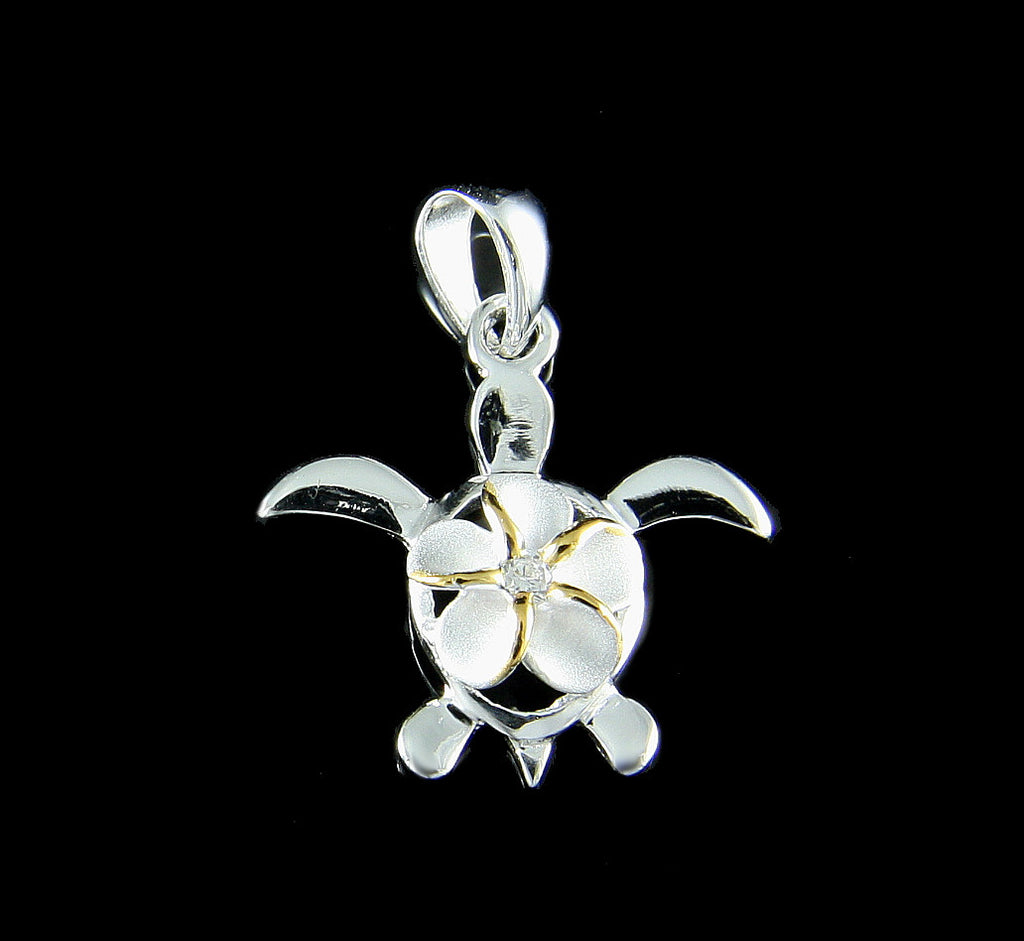 925 STERLING SILVER 2 TONE YELLOW HAWAIIAN PLUMERIA FLOWER HONU TURTLE PENDANT