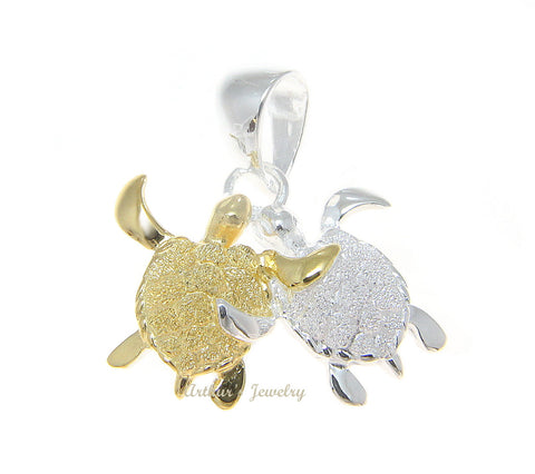 925 STERLING SILVER 2 TONE YELLOW GOLD COUPLE HAWAIIAN SEA TURTLE HONU PENDENT