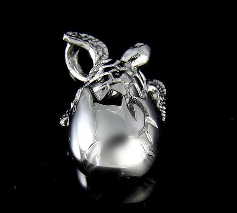 STERLING SILVER 925 HAWAIIAN SEA TURTLE HATCHING FROM EGG PENDANT