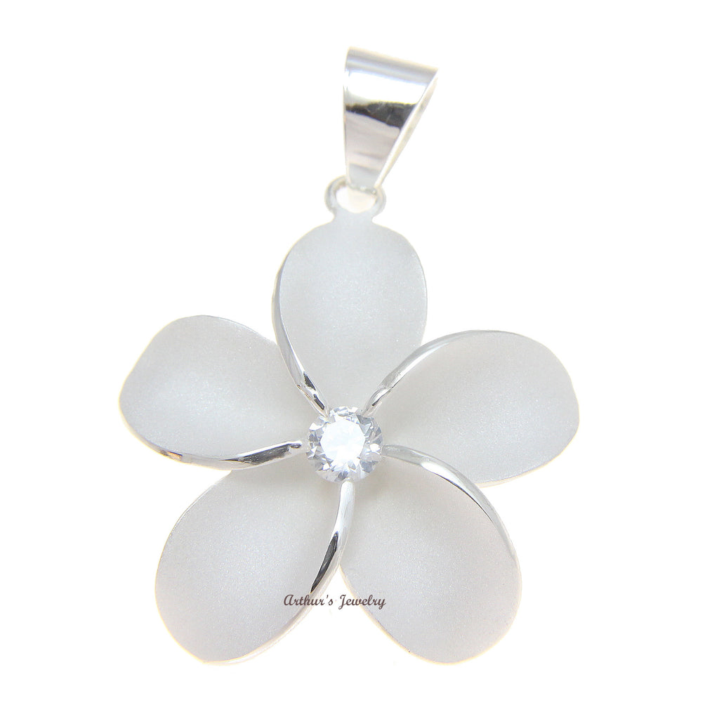 SOLID 925 STERLING SILVER HAWAIIAN SINGLE PLUMERIA FLOWER PENDANT CZ 24MM