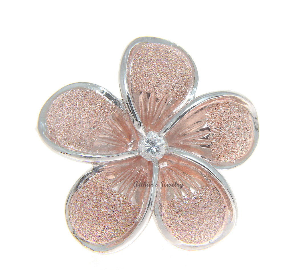 30MM STERLING SILVER 925 HAWAIIAN PLUMERIA FLOWER SLIDER PINK ROSE GOLD