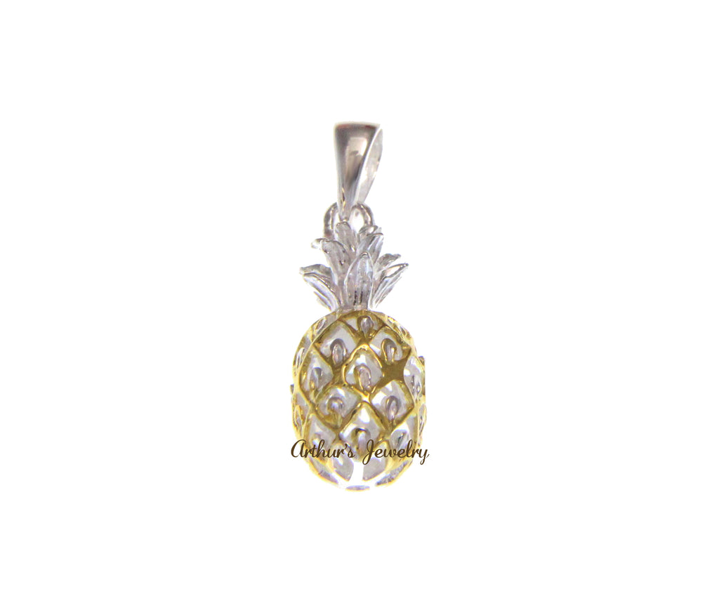 925 STERLING SILVER 2 TONE YELLOW GOLD PLATED 3D HAWAIIAN PINEAPPLE SMALL PENDANT
