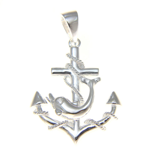 STERLING SILVER 925 ANCHOR OF HOPE WITH DOLPHIN HAWAIIAN PENDANT