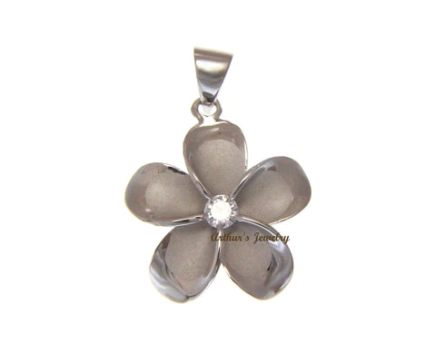 SOLID 925 STERLING SILVER RHODIUM PLATED HAWAIIAN PLUMERIA FLOWER PENDANT 24MM