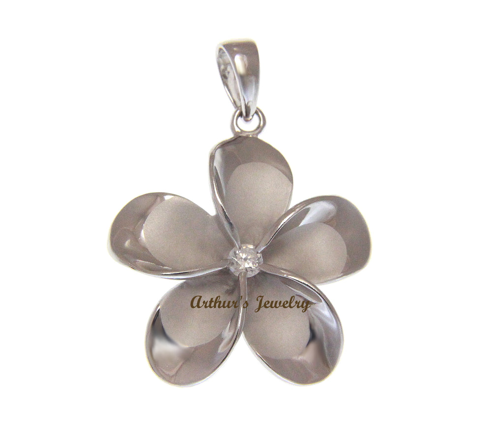 SOLID 925 STERLING SILVER RHODIUM PLATED HAWAIIAN PLUMERIA FLOWER PENDANT 30MM