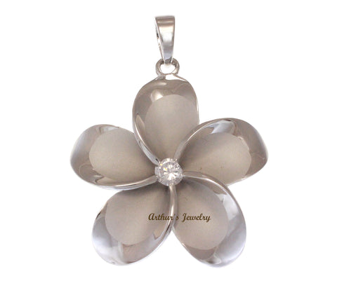 SOLID 925 STERLING SILVER RHODIUM PLATED HAWAIIAN PLUMERIA FLOWER PENDANT 45MM