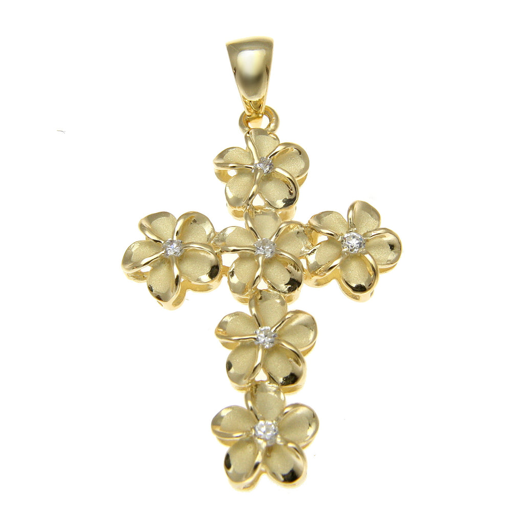 YELLOW GOLD STERLING SILVER 925 HAWAIIAN FANCY PLUMERIA FLOWER CROSS PENDANT CZ