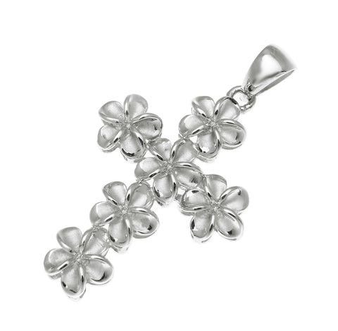 STERLING SILVER 925 HAWAIIAN PLUMERIA FLOWER CROSS PENDANT RHODIUM