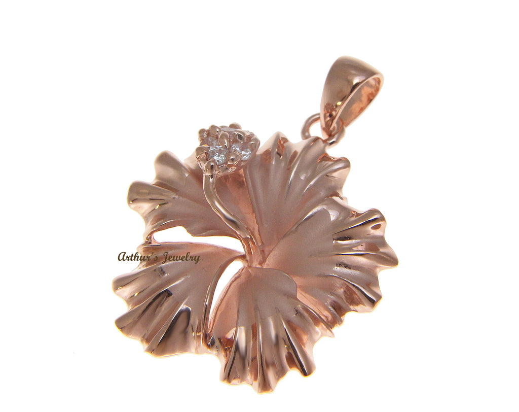 Sterling silver 925 hawaiian hibiscus flower pendant cz 25mm pink sterling silver 925 hawaiian hibiscus flower pendant cz 25mm pink gold plated izmirmasajfo