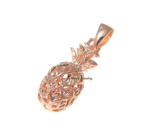8MM ROSE GOLD PLATED STERLING SILVER 925 3D HAWAIIAN PINEAPPLE PENDANT