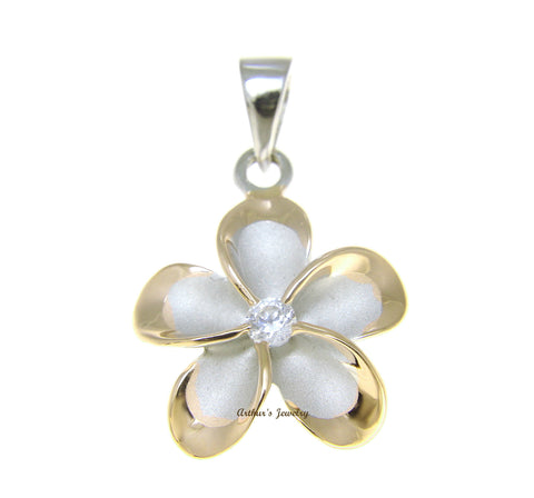 STERLING SILVER 925 HAWAIIAN PLUMERIA FLOWER PENDANT RHODIUM 18MM YELLOW GOLD 2T