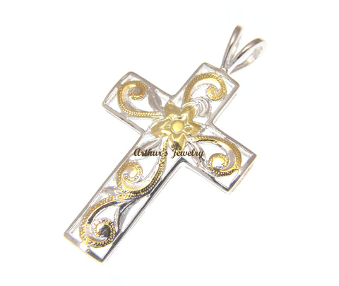 925 STERLING SILVER 2 TONE YELLOW HAWAIIAN PLUMERIA FLOWER SCROLL CROSS PENDANT