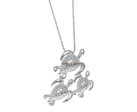 RHODIUM PLATED STERLING SILVER 925 HAWAIIAN 3 SEA TURTLE FAMILY SLIDE PENDANT