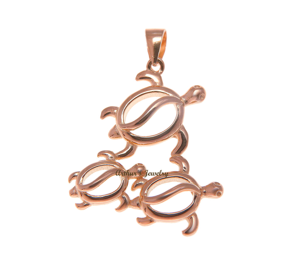 ROSE GOLD PLATED STERLING SILVER 925 HAWAIIAN 3 HONU TURTLE FAMILY PENDANT