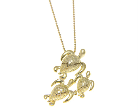 YELLOW GOLD PLATED SILVER 925 HAWAIIAN 3 SEA TURTLE FAMILY SLIDE PENDANT