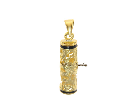 YELLOW GOLD PLATED SILVER 925 HAWAIIAN PLUMERIA SCROLL VERTICAL BARREL PENDANT