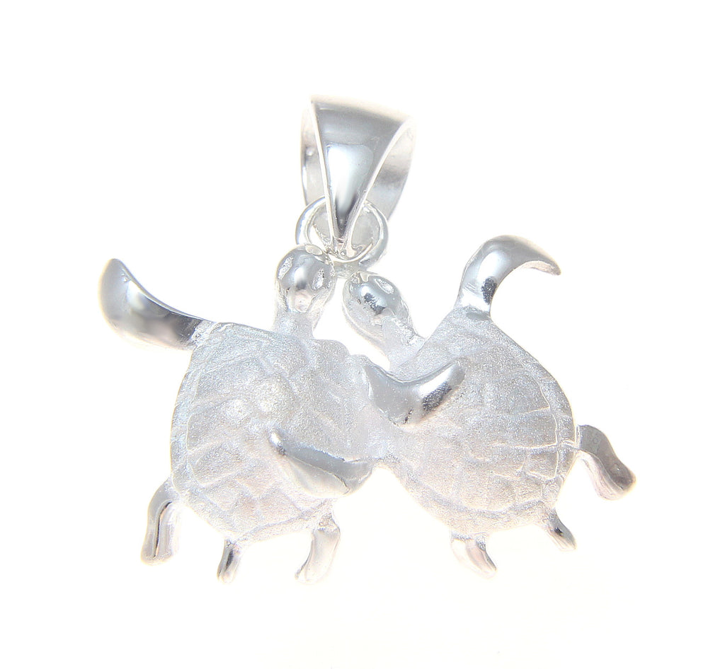 925 STERLING SILVER COUPLE HAWAIIAN HONU SEA TURTLE PENDENT CHARM