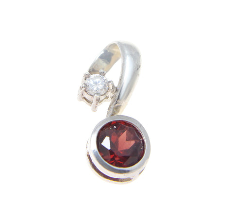 1CT ROUND GARNET SLIDER PENDANT SET IN SOLID 925 STERLING SILVER