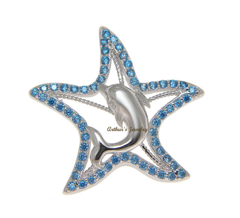 925 Sterling Silver Genuine Blue Topaz Hawaiian Starfish Dolphin Pendant