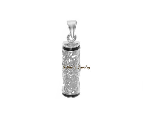 RHODIUM GOLD PLATED SILVER 925 HAWAIIAN PLUMERIA SCROLL VERTICAL BARREL PENDANT