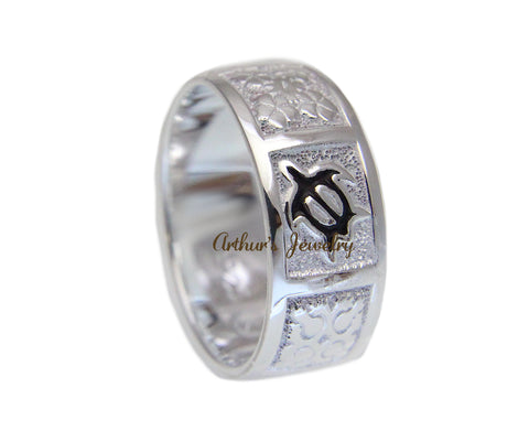 8MM SILVER 925 HAWAIIAN RING BLACK ENAMEL HONU TURTLE QUILT SMOOTH SIZE 3 - 14