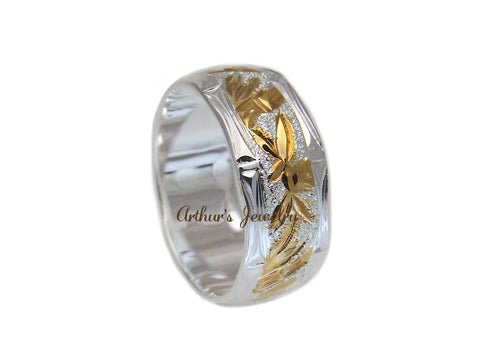 8MM SILVER 925 HAWAIIAN RING YELLOW GOLD PLATED BAMBOO 2 TONE SIZE 3 - 14
