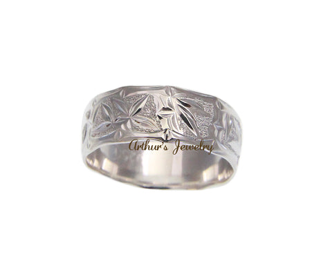 8MM STERLING SILVER 925 HAWAIIAN RING BAMBOO SCALLOP CUT OUT EDGE SIZE 3 - 14