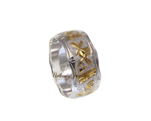 STERLING SILVER 925 HAWAIIAN BAMBOO DESIGN RING 10MM 2 TONE SIZE 4 -14