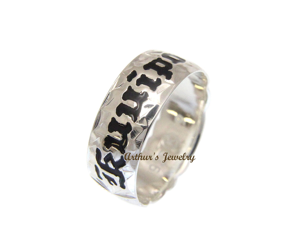 6MM SILVER 925 HAWAIIAN RING PLUMERIA SCROLL BLACK KUUIPO CUT OUT SIZE 3 - 14