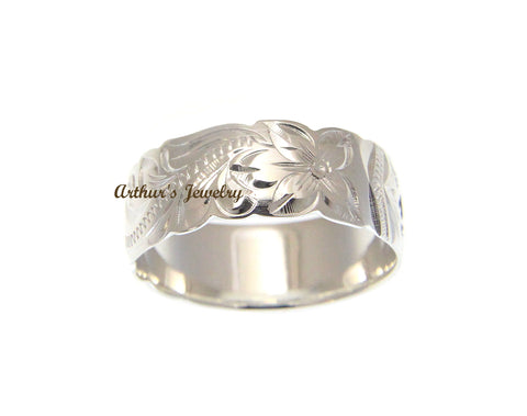 925 SILVER 8MM HAWAIIAN KUUIPO SCROLL BAND RING BLACK ENAMEL CUT OUT SIZE 4-14