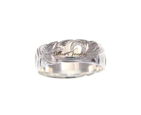 6MM SILVER 925 HAWAIIAN RING PLUMERIA SCROLL RAISED KUUIPO CUT OUT SIZE 3- 14