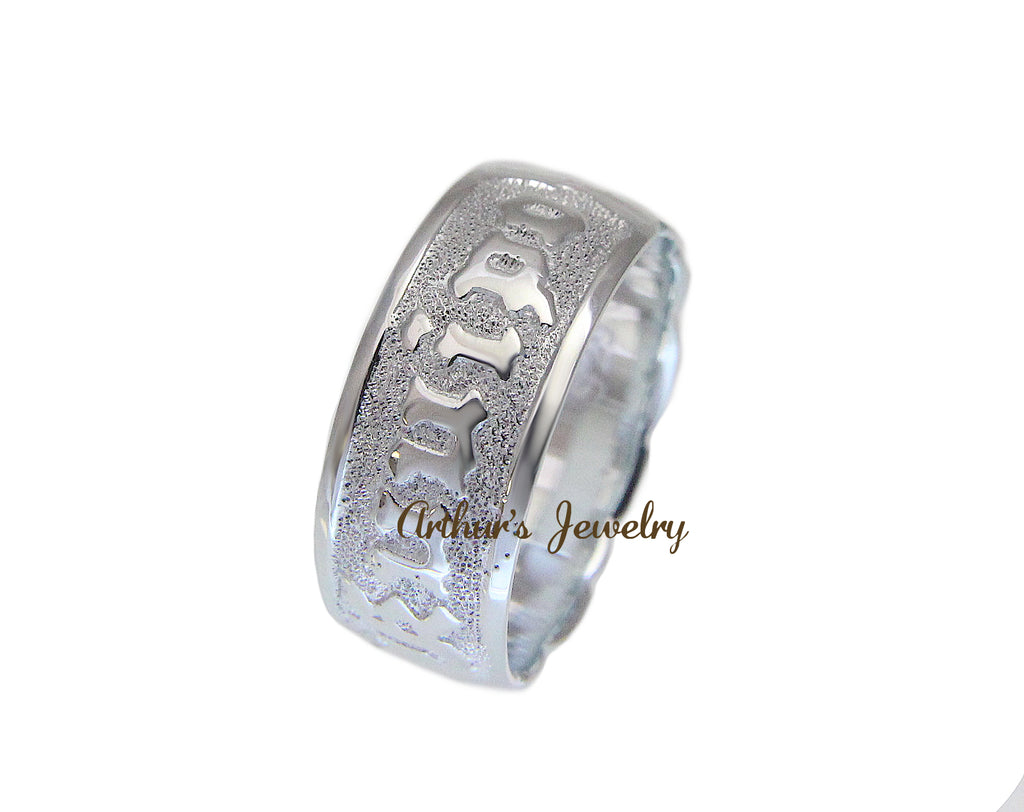 8MM SILVER 925 HAWAIIAN RING RAISED LETTER KUUIPO SCROLL CUT OUT EDGE SIZE 3-14