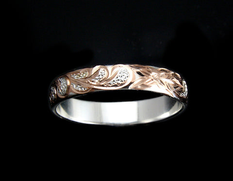 4MM ROSE GOLD PLATED SILVER 925 HAWAIIAN PLUMERIA SCROLL BAND RING SIZE 2 TO 12