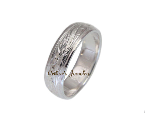 925 STERLING SILVER HAWAIIAN PLUMERIA FLOWER SCROLL SMOOTH EDGE 6MM BAND RING