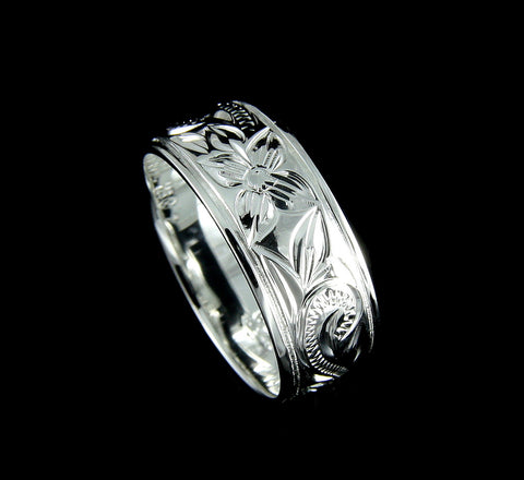 8MM STERLING SILVER 925 HAWAIIAN BAND RING PLUMERIA FLOWER SCROLL SIZE 4-14