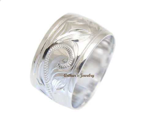 12MM STERLING SILVER 925 HAWAIIAN RING PLUMERIA SCROLL