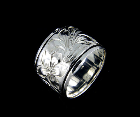15MM SILVER 925 HAWAIIAN RING PLUMERIA FLOWER SCROLL BLACK BORDER LINE ENAMEL