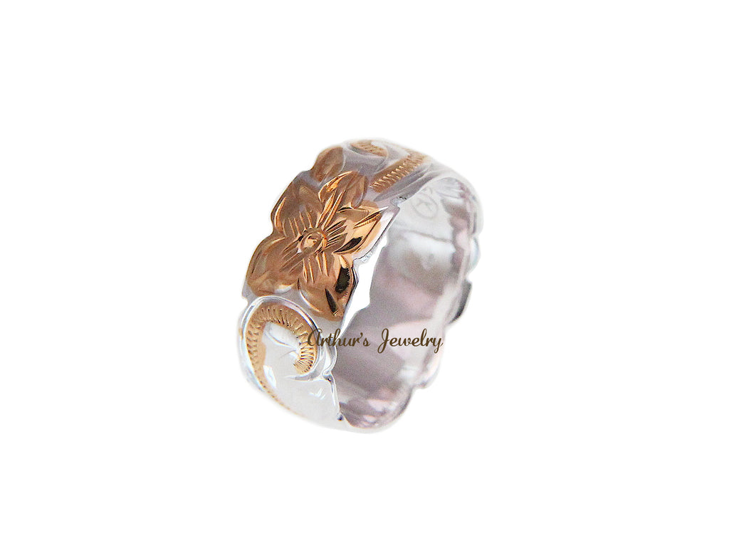 8MM SILVER 925 HAWAIIAN PRINCESS SCROLL RING ROSE GOLD PLATED 2 TONE SIZE 3 - 14