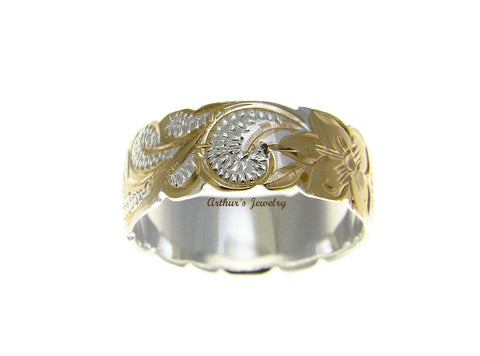 8MM SILVER 925 HAWAIIAN QUEEN SCROLL PLUMERIA RING CUT OUT 2 TONE SIZE 3 - 14