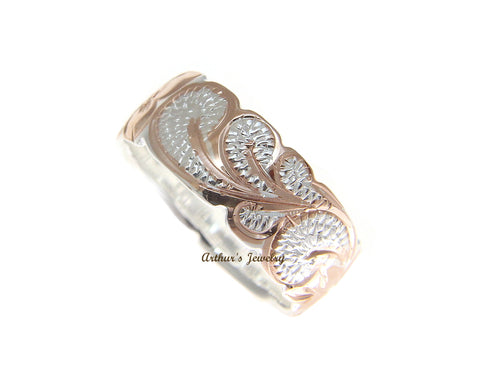 8MM SILVER 925 HAWAIIAN RING QUEEN SCROLL ROSE GOLD PLATED 2 TONE SIZE 3 - 14