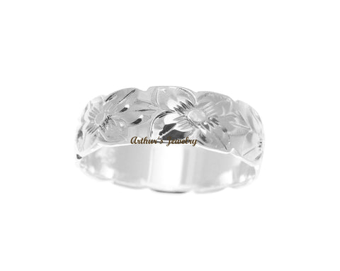 925 STERLING SILVER HAWAIIAN PLUMERIA FLOWER ALL AROUND 6MM BAND RING
