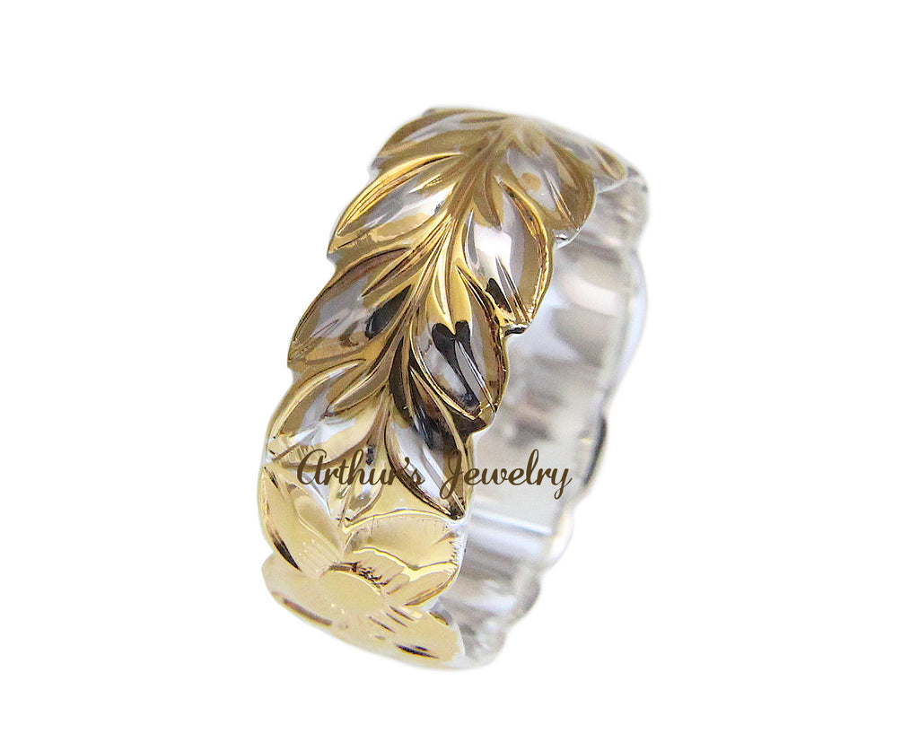 925 STERLING SILVER YELLOW GOLD 2 TONE HAWAIIAN PLUMERIA MAILE LEAF 8MM RING