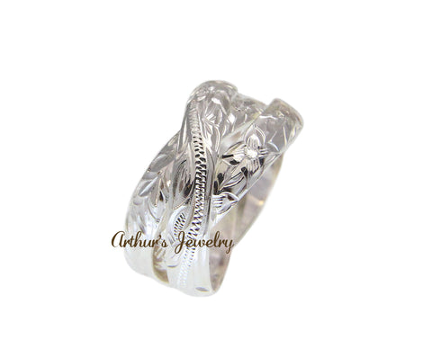 STERLING SILVER 925 3 IN 1 HAWAIIAN ENGRAVED PLUMERIA SCROLL MAILE LEAF RING