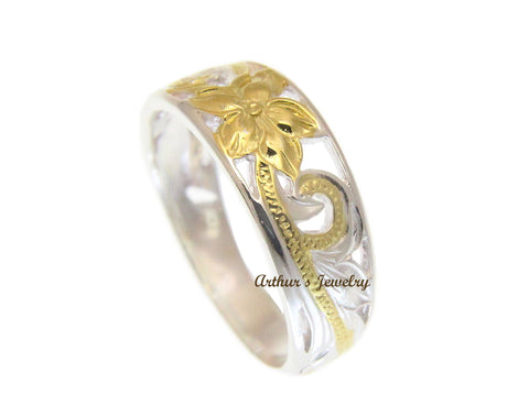 SILVER 925 HAWAIIAN PLUMERIIA SCROLL CUT OUT RING YELLOW GOLD PLATED SIZE 2 - 12
