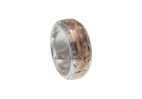 925 SILVER ROSE GOLD PLATED HAWAIIAN PLUMERIA SCROLL 6MM 8MM DOUBLE BAND RING