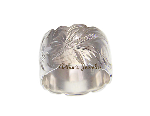 925 STERLING SILVER HAWAIIAN PLUMERIA FLOWER SCROLL CUT OUT 15MM BAND RING