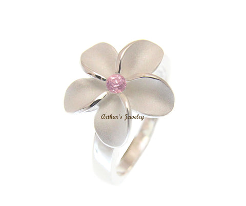 STERLING SILVER 925 HAWAIIAN PLUMERIA FLOWER RING 15MM PINK CZ SZ 4- 10
