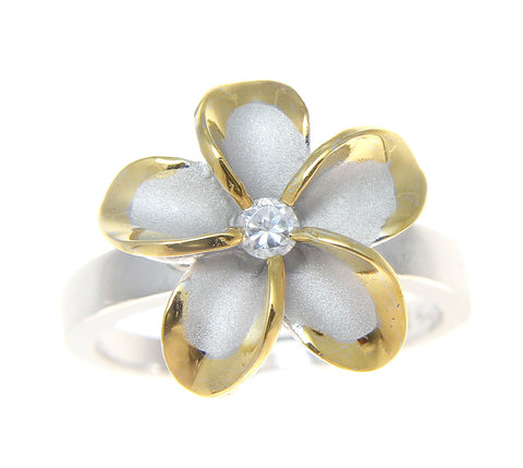 STERLING SILVER 925 HAWAIIAN PLUMERIA FLOWER RING 15MM CZ RHODIUM YELLOW GOLD 2T