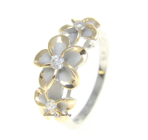 STERLING SILVER 925 HAWAIIAN FANCY 3 PLUMERIA FLOWER RING RHODIUM YG SIZE 3 - 10