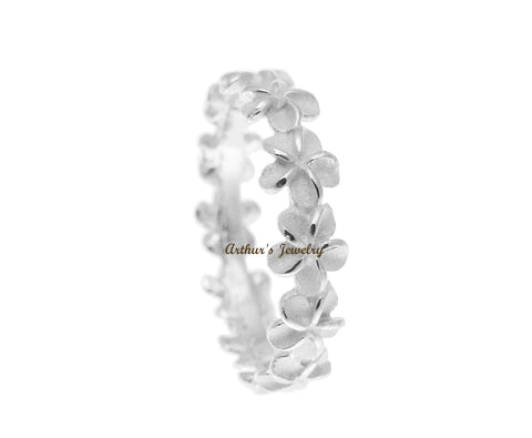 STERLING SILVER 925 HAWAIIAN 5MM PLUMERIA FLOWER LEI RING SIZE 2 - 11